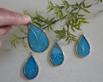 Set of 4 Stained Glass Teardrop Ornaments, Fairy Garden, Home Decor, Garden Art, Sun Catcher, Window Hanging, Blue, Ornaments, Holiday Decor