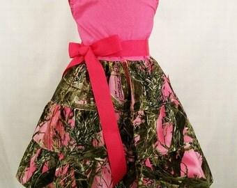 Girls Realtree Pink Camo with Pink Top Jumper Dress, Handmade Little Girls Dress, Made inj the USA, #179