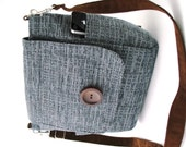 blue crossbody bag, steel blue purse, womens backpack , blue messenger bag ,blue backpack, blue handbag, zipper bag, fits IPAD