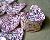 Bridal shower favors 15 Heart  Ring Bowls edged in gold wedding