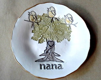 NANA with 3 Birdy Ceramic  Trinket Bowl edged in gold  Mothers Day Gift