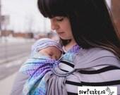 Sewfunky Designer Adjustable Baby Sling certified organic cotton Pixie Trim on Grey