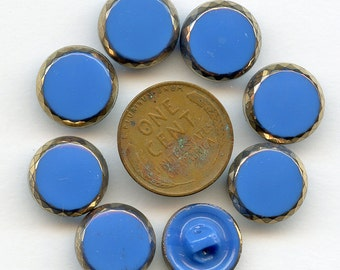 Set of 8 Glass Buttons 1940s Vintage ROYAL BLUE  1/2 inch size New Old Stock MORE AVAiLABLE 1460