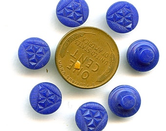Vintage Set (8) Cobalt Blue Glass ART DECO Buttons 3/8 inch size 1619