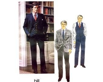 Bill Blass Mens Jacket Vest Pants Suit Vogue 2585 Vintage Sewing Pattern Chest 40 OR Chest 42 UNCUT