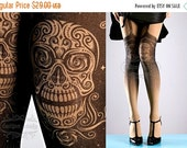 20%OFF//endsJUL20// Tattoo Tights, Day of the Dead garters print Nude Color thigh highs illusion one size full length closed toe printed tig