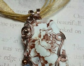 Sea China Brown Floral Pendant Necklace with Rose Gold Freeform Wire Wrap