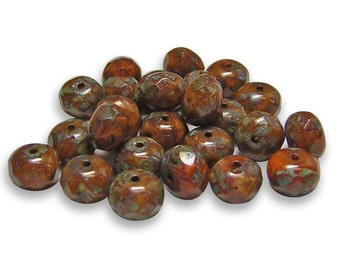 Czech Fire Polished Beads 6x8mm Buttnernut Picasso Fire Polished Rondelle Czech Beads 25pcs (A72) Czech Picasso Beads, Czech Glass Beads