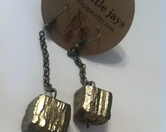 Pyrite Stone Chain Earrings Golden Fools Gold Rock