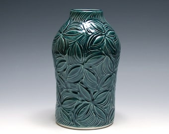 Teal Blue Vase with Carved Flowers