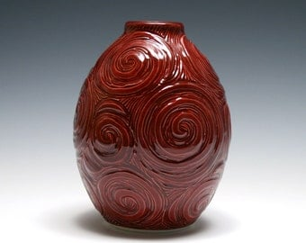 Rhubarb Red Vase with Spiral Carving