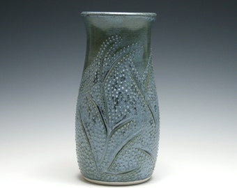 Smoke Blue Vase with Branch and Dot Design