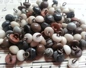 50 Shabby Antique Shoe Buttons. As Found.