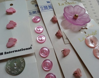 Pretty in Pink .... Assortment of Carded ... Vintage Buttons