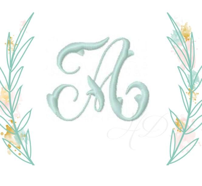 Inch vine monogram embroidery font satin stitch