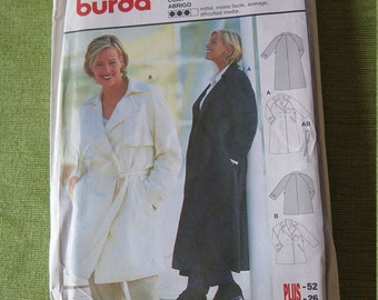 Burda 2712 Misses Womens Plus Size Coat or Trench Coat with Belt in Two Lengths Sewing Pattern 16 18 UNCUT