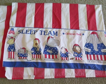 Vintage SLEEP TEAM Twin Martex Sheet by Boynton Fabric Yardage Crafting