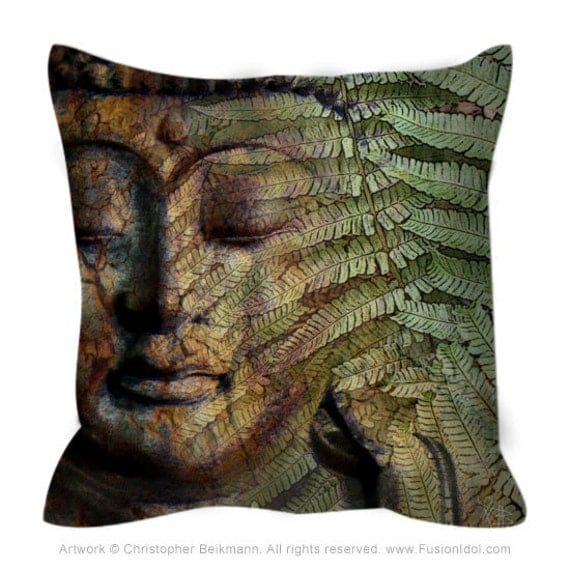 Buddha Throw Pillow Green and Brown Buddhist Art Pillow With
