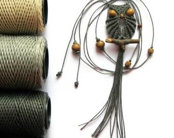 Slate Gray Macrame Owl Necklace, Pendant, Adjustable, Miniature Owl Jewelry, Womens, Macrame Jewelry, Cute Owl, Gifts Under 15, macraMe