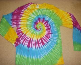 L long sleeve tie dye tshirt, colorful pastel swirl, large