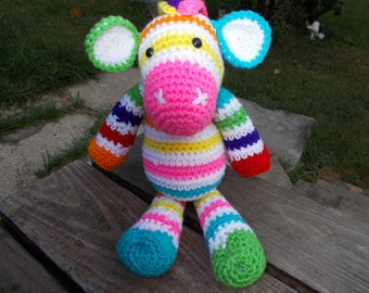 Rainbow Zebra Amigurumi-Handmade crochet amigurumi Rainbow Zebra-Toy-Plushie-Ready to Ship