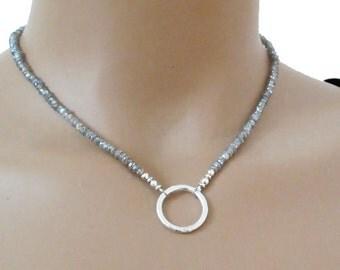 Mystic Labradorite Necklace Sterling Silver Circle of Life DJStrang Boho Chic Sparkle Gemstone Ring Hammered Mystic