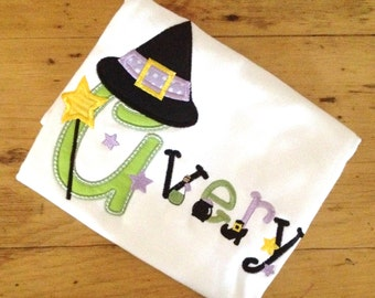 Witch Alpha Personalized Halloween Appliqued Tee