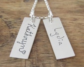 Children's Handwriting Necklace Personalized Jewelry Sterling Silver Keepsake Memory