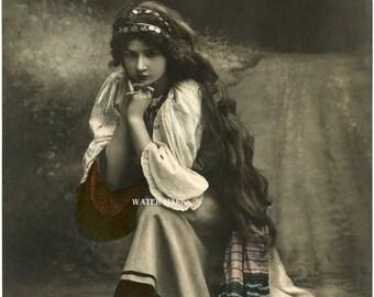 Gypsy Girl*kneeling one knee*Wonderful*Bohemian**BOHO*Quilt art fabric block*Quilts,Pillows,Sachets,Frame