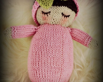 "Handknit Doll in natural fibers 8""' to 9""  Girly baby loves pink"