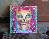 Miss Kitty / Mixed Media Painting on Wood