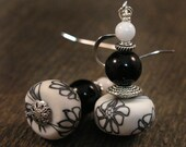 Black and white polymer clay beads with flowers, stone, glass handmade silver earrings