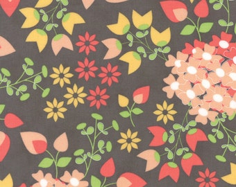 """30"""" piece/remnant - Sundrops - Bouquet in Dark Taupe: sku 29010-15 cotton quilting fabric by Corey Yoder for Moda Fabrics"""