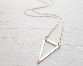 Open Triangle Necklace Rose Gold Fill Upside Down Triangle Pendant Necklace Bohemian Jewelry