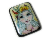 Glass Cabochon Hand painted fused glass Nature Girl for Bead Embroidery and Wire wrapping