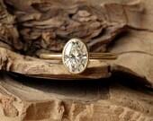 Bezel Set Oval Moissanite Ring - 7x5mm