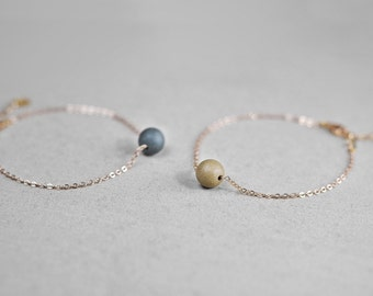 Clay pearl bracelet, Ceramic bracelet Gold filled bracelet Yellow beads bracelet Green bracelet Everyday bracelet Birthday gift-boohua