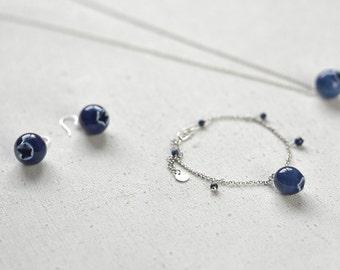 Blueberry jewellery set 3 pieces - earrings bracelet necklace, Ceramic jewelry set  Woodland jewelry Forest jewelry Birthday gift-boohua