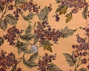 PURPLE LILAC FLOWER Fabric Retired Red International Textiles Rare HtF