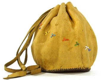 60s Native American Leather Drawstring Bag / Vintage 1960s Beaded Deerskin & Tooled Leather Pouch / Handmade Hippie Boho Southwest Purse
