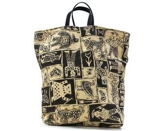 90s African Animal Print Tote / Vintage Handmade Reversible Bag / Mudcloth Print