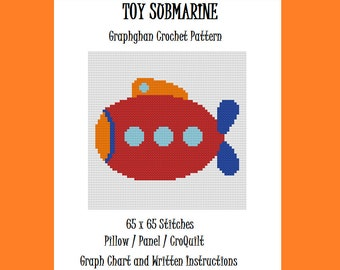 Toy Submarine - Graphghan Crochet Pattern - Pillow/Panel/CroQuilt