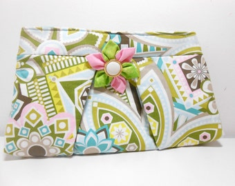 Pastel Pleated Clutch with Kanzashi Brooch, Pink and Green Bold Print Clutch