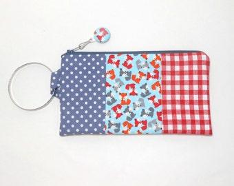 Fox Bangle Wristlet with Zipper Pull, Bangle Wrislet Fox Fabric Small Fox Print Wristlet