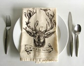 Deer & Birds Napkins Set, Hand Printed Cloth Napkins,Natural Unbleached Cotton,Eco Friendly,Made in USA