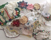 Large Lot of Vintage Crochet Doilies Embroidered Linens and Vintage Apron