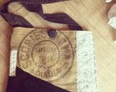 Vintage French Burlap and Embroidered Silk Boho Gypsy Shoulder Bag Purse