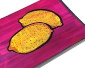 Lemons - Original Mixed Media Collage Painting, lemon art, kitchen art, fruit, food art, wall decor, yellow, pink - Claudine Intner