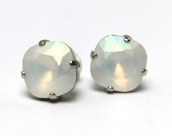 White Opal Crystal Stud Earrings Classic Sparkling Moonstone Solitaire Milky Swarovski 12mm Sterling Post & Copper Pastel Rainbow Shimmer