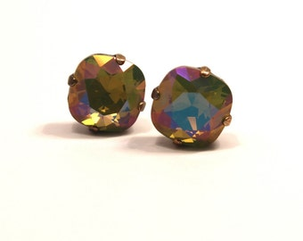 Poison Apple Green Crystal Stud Earrings Classic Chartreuse Sparkling Rainbow Solitaire Swarovski Sterling Post & Copper Erinite Sage Moss